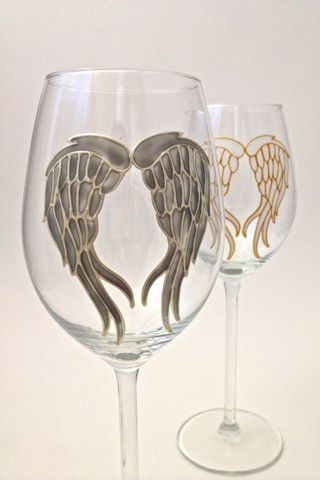 Toasted Glass - Angel Wings Long Stem Wine Glasses