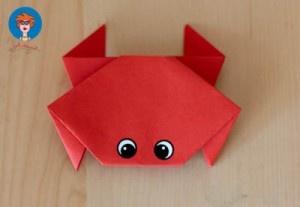 Krab vouwen - knutselen - Juf Jannie