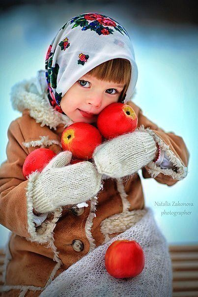 Russian girl with red apples