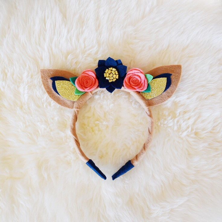 Fawn Deer Ears with Navy, Coral, and Gold Flowers Felt Handmade Headband with Glitter // animal flower crown // easter floral headband by BakerBlossoms on Etsy https://www.etsy.com/listing/267994407/fawn-deer-ears-with-navy-coral-and-gold