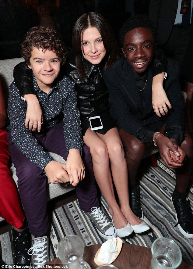 Smile! Millie Bobby Brown was seen posing alongside Gaten Matarazzo and Caleb McLaughlin