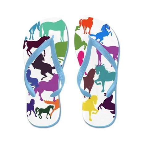 Rainbow Horses Flip Flops. Lots of gorgeous colored horses for the horse lovers out there :) #horse #pony #flipflops #thongs #beach