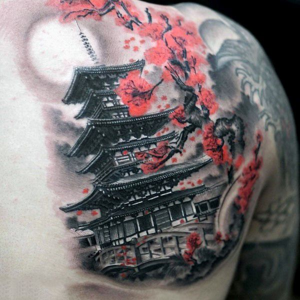 Japanese Tower Cherry Blossom Mens Back Tattoo With Shaded Grey Ink                                                                                                                                                     More