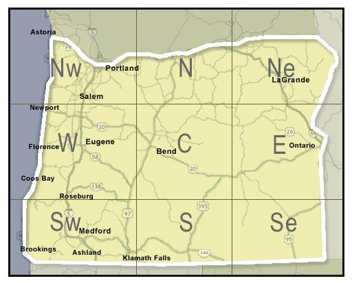 Navigation map for viewing regions and city road conditions in the State of Oregon
