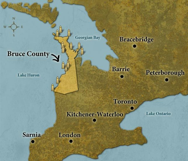 Lighthouse map Bruce county