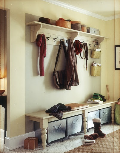 Front entryway ideas - is that a coffee table cut in half? hmmm. *maybe fun for just to the left on the wall as you walk in - shoe on/off station + coat hooks (I love coat hooks :)