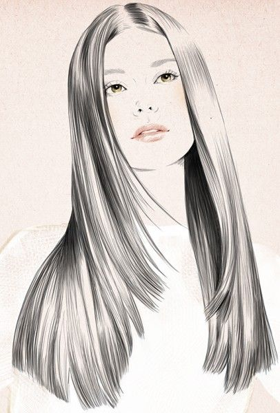 Straighteners copy by Sandra Suy - Pencil, Watercolor illustration. Fashion, Beauty