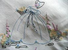 Vintage Hand Embroidered Linen Tablecloth - CRINOLINE LADY GARDEN CORNERS