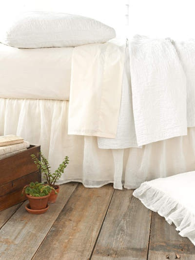 Love the bedskirt and floor via Pine Cone Hill bedding