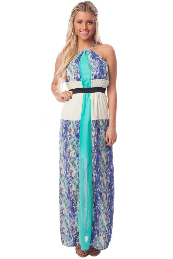 Lime Lush Boutique - Emerald Pattern Halter Maxi Dress, $22.95 (https://www.limelush.com/emerald-pattern-halter-maxi-dress/)
