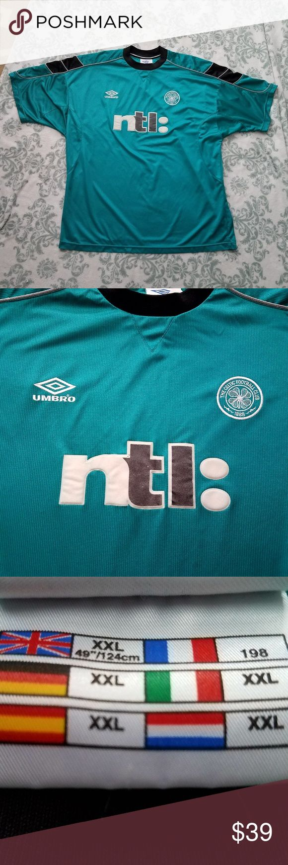 UMBRO XXL CELTIC FOOTBALL CLUB 1888 Soccer Jersey UMBRO Size XXL CELTIC FOOTBALL CLUB 1888 Soccer Jersey Shirt Scotland Glasgow  This jersey is a unique teal green with black, white, and silver accents. EUC. I do not see any holes or stains. The pit-to-pit measurement is 25 inches and the length is 31 inches.  Thank you for looking and please check out my closet!  A20 Umbro Shirts Tees - Short Sleeve