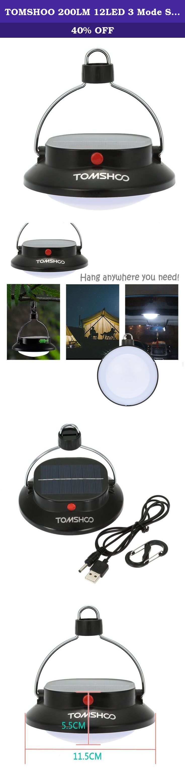 TOMSHOO 200LM 12LED 3 Mode Solar Power USB Charging Hiking Camping Lamp Tent Campsite Hanging Lamp Phone Charger with Rechargeable Battery Outdoor Indoor. This Camping Lamp is equipped with 12 ultra bright white LEDs and 3 lighting modes. It has rechargeable battery which can be powered by solar panel and USB charging. What's more, it can be also used as an emergency charger for your phone. Lightweight, compact and durable, it is a must have for night fishing, camping, hiking, and other...