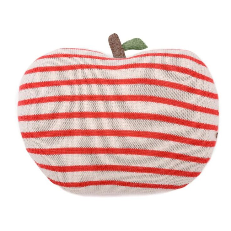 CORAL STRIPED APPLE PILLOW   Ouef