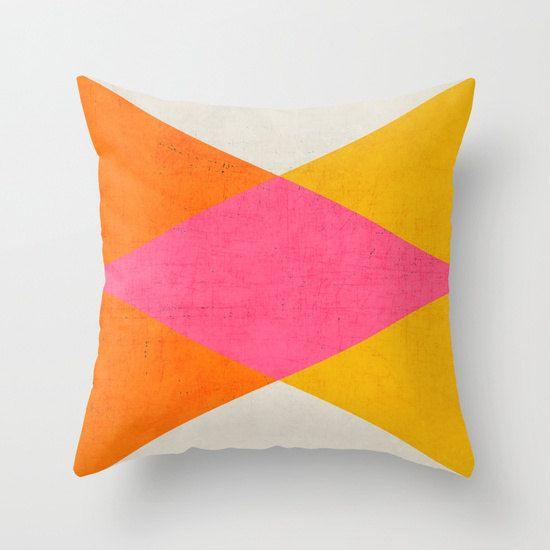 Summer Triangles Throw Pillow  Geometric by LushTartArtProject