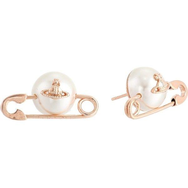 Vivienne Westwood Jordan Earrings (Pearl 3) Earring (£85) via Polyvore featuring jewelry, earrings, pearl jewellery, safety pin earrings, vivienne westwood jewellery, vivienne westwood earrings and vivienne westwood