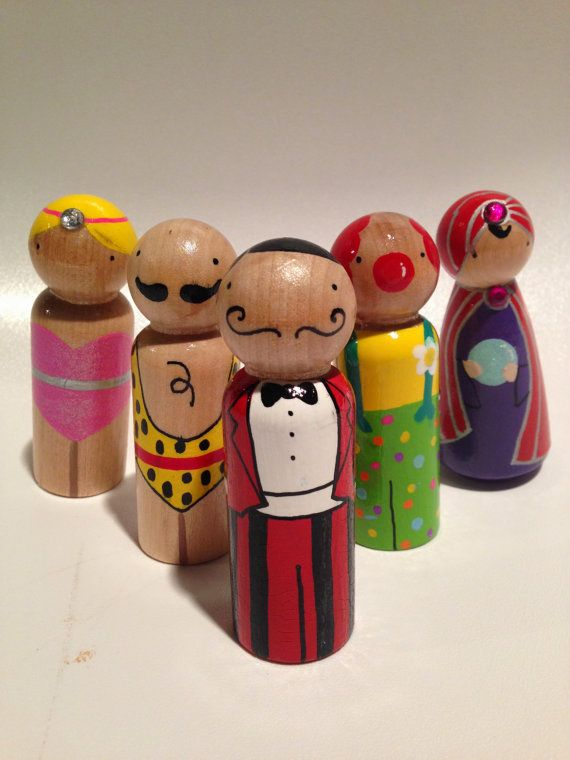 Carnival Peg Dolls by sunshineclementine on Etsy, $42.00