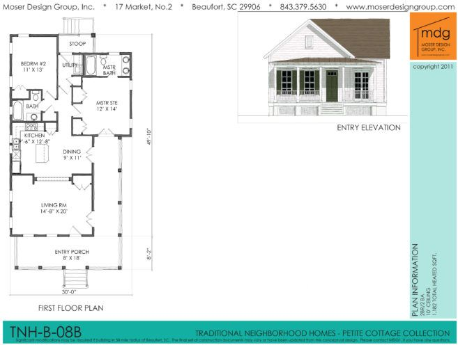 Moser Design Group Tnh B 08b Seabrook Cottage 2 Bed 2 Bath 1 182 Sf 1 Story Yellow Cottage Kitchen Dining Living Design