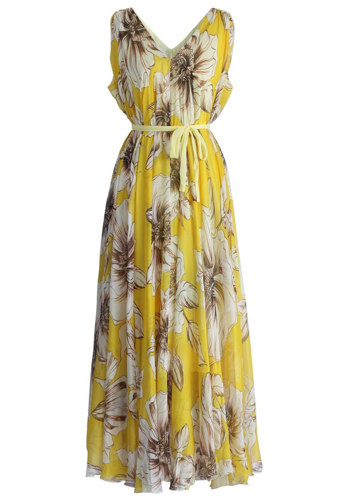 Marvelous Floral Chiffon Maxi Dress in Yellow - New Arrivals - Retro, Indie and Unique Fashion