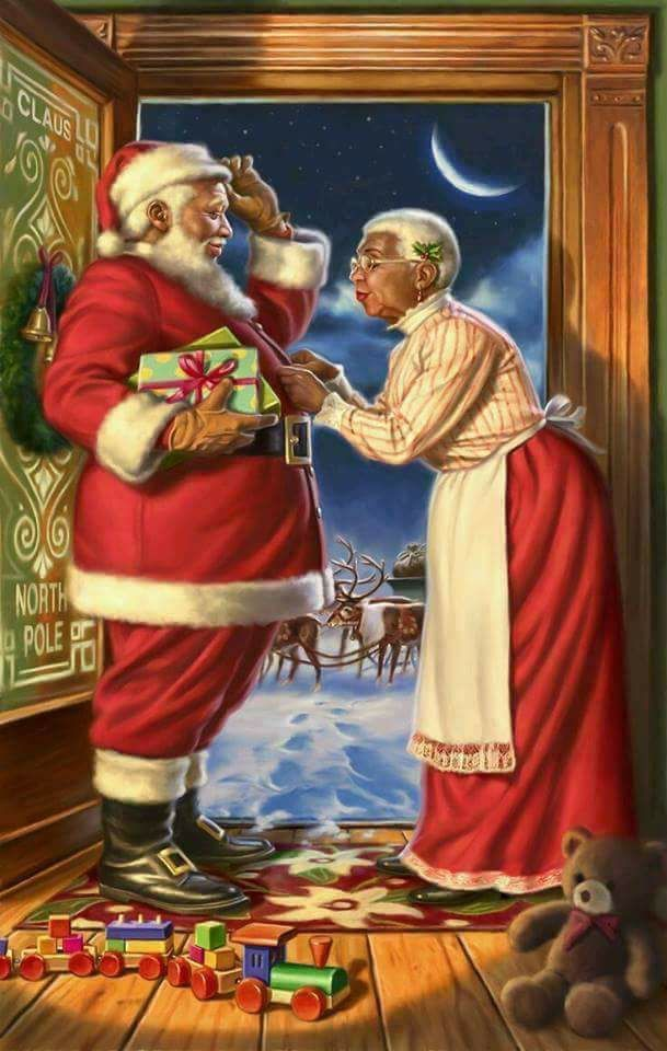 NO WAY!!!  In MY opinion Santa was WHITE - he was from the Netherlands - Jesus, however, may be BLACK as he was from the Middle East.  But NOT Santa.
