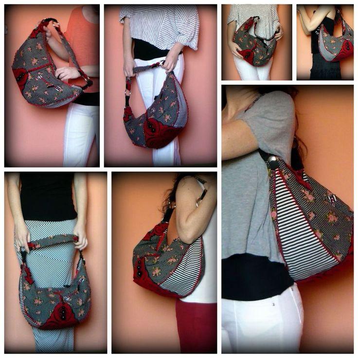 Handmade by Judy Majoros -Polka dots-striped-floral boho bag. Black and red felt applique.Beaded bag. Recycled bag