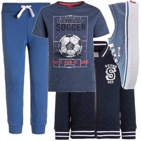 Outfit per bimbi tra i 2 e i 9 anni. Perfetto per la scuola ma anche per le attività sportive. Per un bambino dinamico che ha voglia di scatenarsi e adora lo sport.