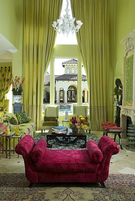 **gorgeous: Wall Colors, Colors Combos, Living Rooms, Curtains, Colors Rooms, Spaces Rooms, Hot Pink, Eclectic Living Room, Bright Colors