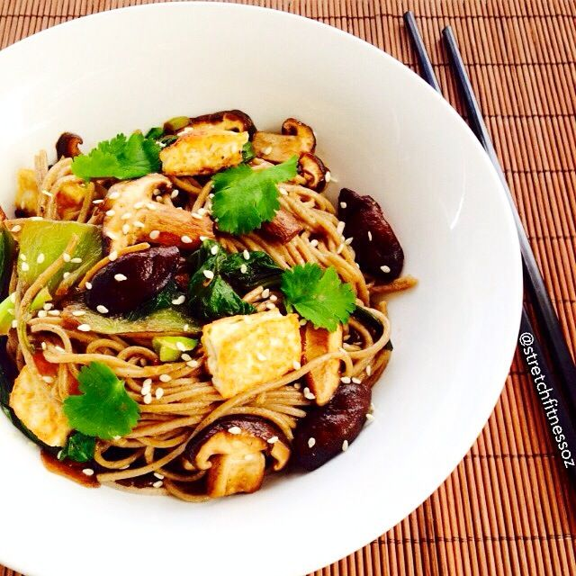 Stir Fry Buckwheat noodles with Tofu. Perfect post recovery meal after a long run!