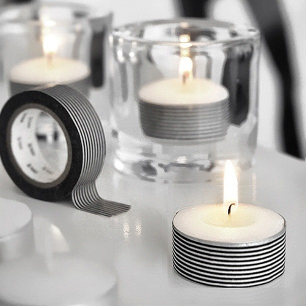 اضافة شريط لاصق للشمعة تعطيها منظر جمالي حلو