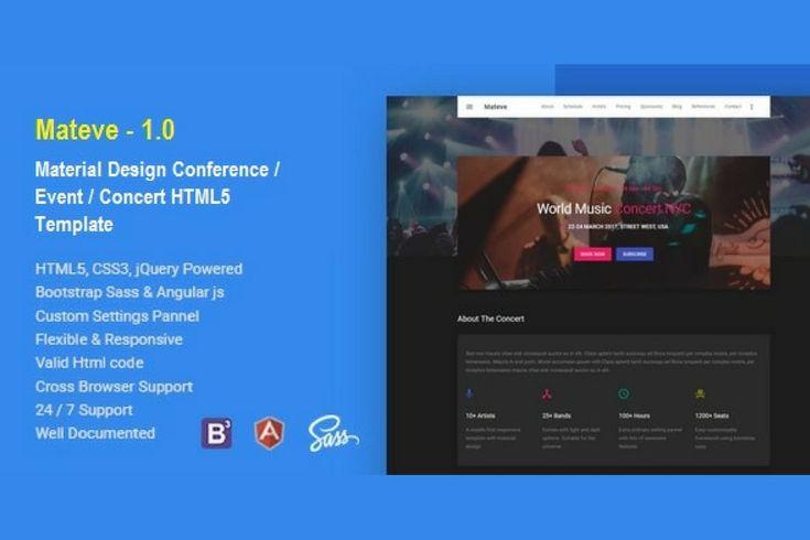 Mateve Event/Conferencia/Concert HTML Plantilla de Hencework en Envato Elements