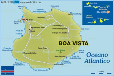 Geographical online map of Boa Vista (Cape Verde) - political or physical - with further information. Road maps and region maps with cities, countries, states, rivers, mountains, lakes, areas, places of intrest and much more - World Atlas