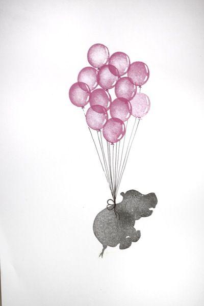 Nilpferd mit Ballon Set Stempel, handgeschnitzt von Aure