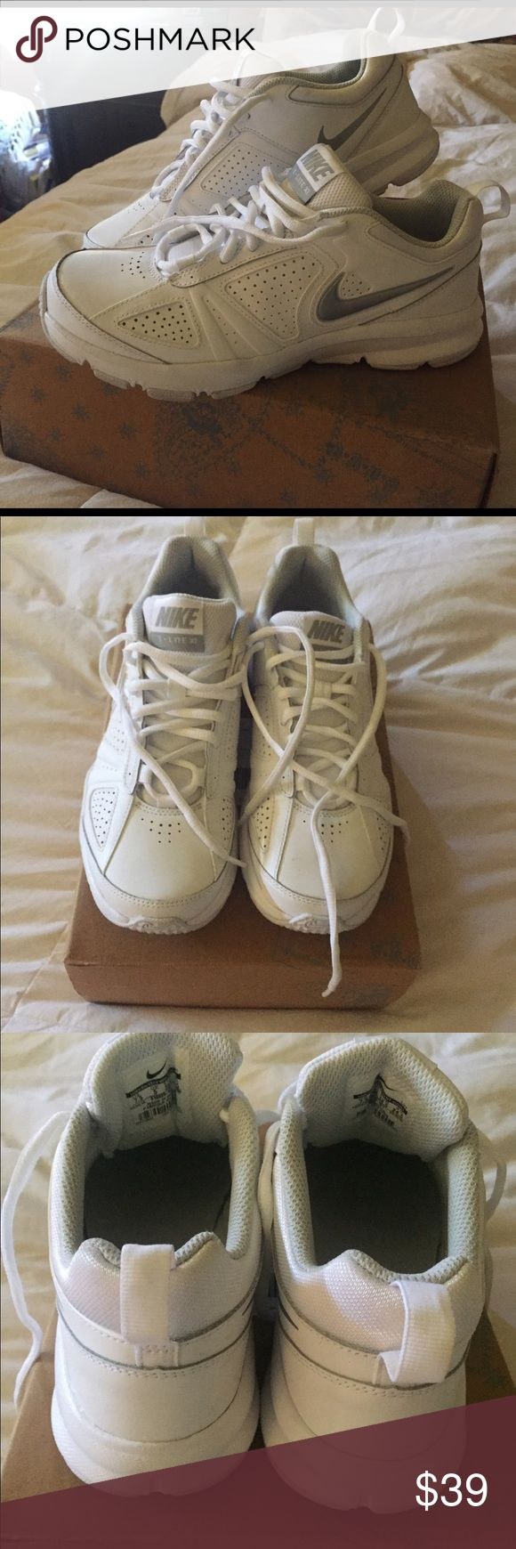 Nike sneakers White Nike's that are just a half size too small for me. I tried to wear them twice. Not working!! I'd have loved to list as brand new but I wore them twice. Once around the house, once outside for a walk... I need an 8! 😳 I will list these at a steal of a price..... sad to see them go but maybe I can find white size 8 on Posh!! 💕 very comfy by the way! Just not proper size for me. I should know better! Nike Shoes Athletic Shoes