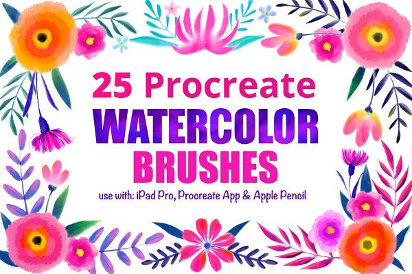 25 Procreate Watercolor Brushes - Brushes