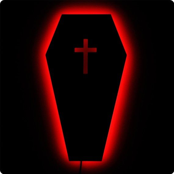 Gothic Coffin Wall Light w/Cross - Vampire Goth Decor - Blood Red