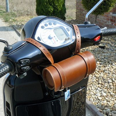 Leather Top Box Roll Tool Handlebar Bag 4 Piaggio Vespa Scooters, Vintage Brown | Yelcome | ebay | £59.00