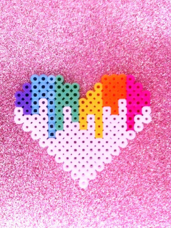 Melting Heart Pixel Perler Bead by BlackOutDoll.deviantart.com on @deviantART