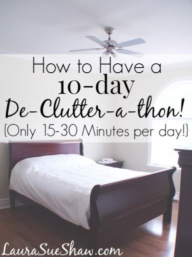 How to Have a 10 Day De-Clutter-a-thon (Only 15 - 30 minutes per day!) This simple, workable plan will help you clear out the excess from 10 key areas around the house. What an easy way to finally get rid of some clutter!