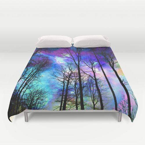 fantasy sky Duvet Cover #fantasy #magical #duvet #duvetcovers #fantastic #magic #bed #bedding #bedroom #forest #trees #nature #sky #clouds #nebula #fairy #magicland #decoration #bedroomdecor #haroulita #society6 @society6