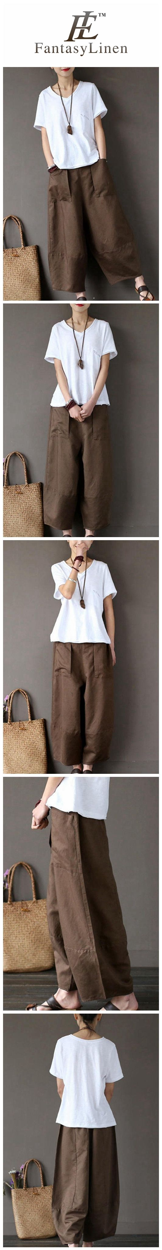 Coffee Loose Cotton Linen Casual Ankle Length Pants Women Clothes P1203  P1203Coffee