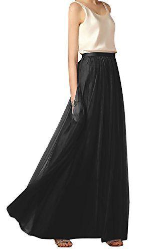 87877bf99634b2 Maxirock Damen Elegante Frühling Sommer Netz-Garn Lnformell Elastische  Taille A-Linie Mädchen Kleidung