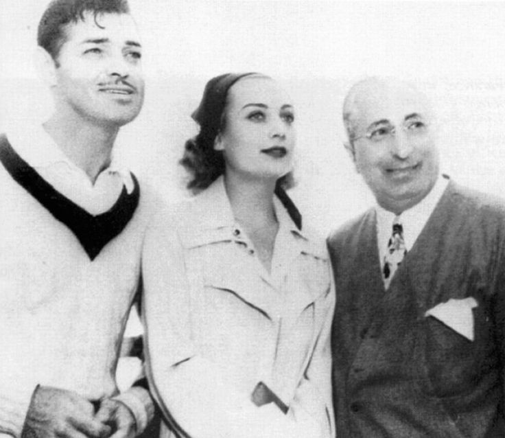 Carole Lombard, Clark Gable, and Louis B. Mayer.