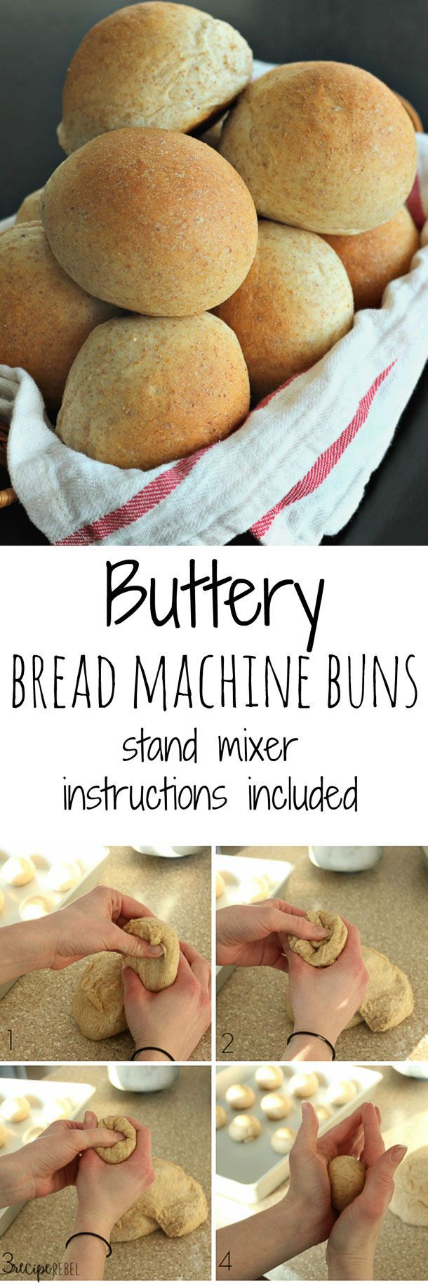Butter Bread Machine Rolls: Soft, buttery rolls that are perfect every time! Use whole wheat or all-purpose flour, a bread machine or a stand mixer! www.thereciperebel.com