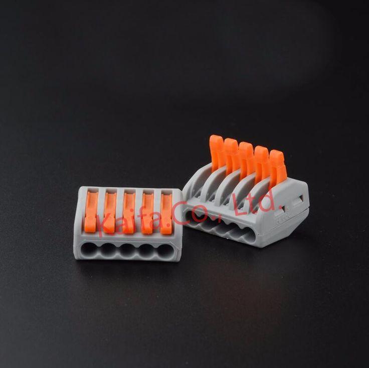 (5 pcs/lot) WAGO 222-415 (PCT215) Universal Compact Kawat Kabel Konektor 5 pin Konduktor Terminal blok Dengan Tuas 0.08-2.5mm2