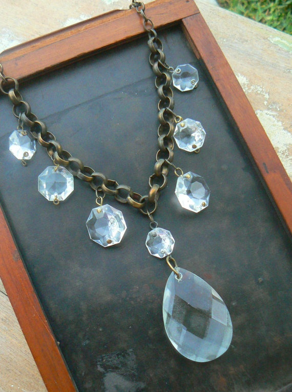 This Looks Fabulous On ! Beautiful brass patina chain has Vintage Crystal Chandelier prisms hanging perfectly.$68.00