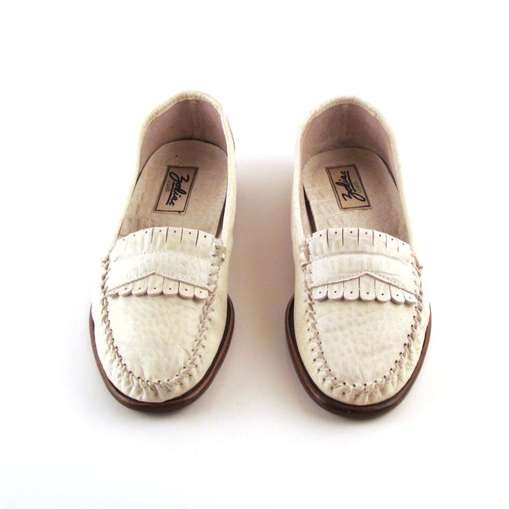 Zodiac White Loafers Vintage 1980s