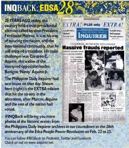 February 7, 1986:  The EXTRA edition of the Philippine Daily Inquirer.
