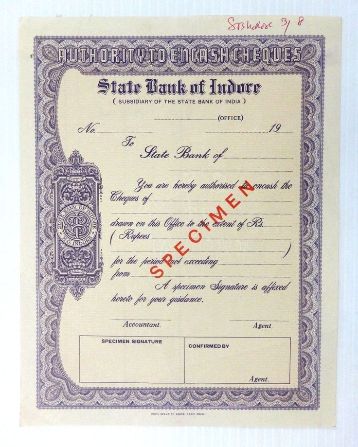 State Bank of Indore India Authority to Encash Cheques SPECIMEN