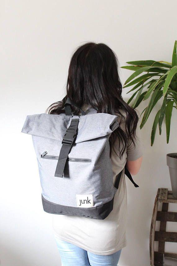 Boardwear UNISEX roll top rucksack in Grey backpack travel
