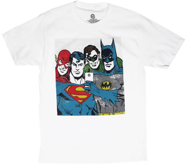 DC Justice League Group Selfie - Superman Batman Green Lantern T-Shirt - S-XXL | eBay