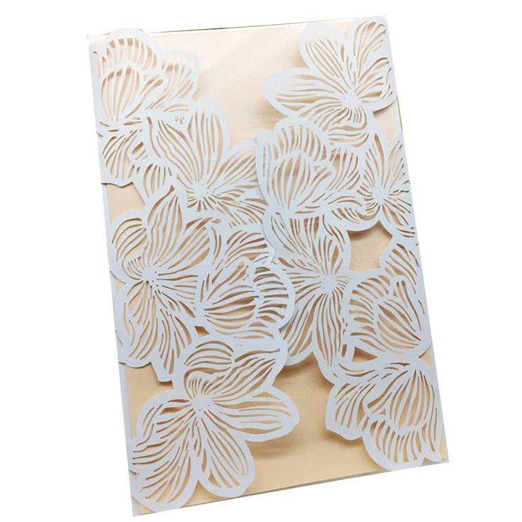 Wedding Invitation Card 10pcs/lot White Damask Flower Silk Ribbon Party Birthday Laser No Envelope No Blank Inner Sheet